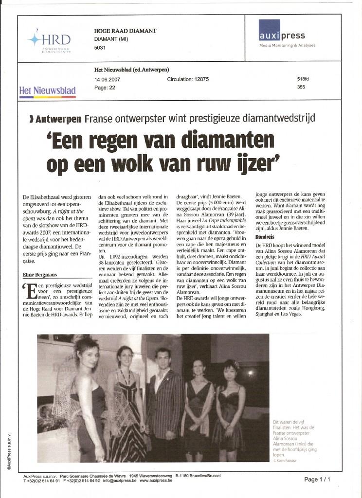 Het Niewsblad Antwerpen - 14.06.2007